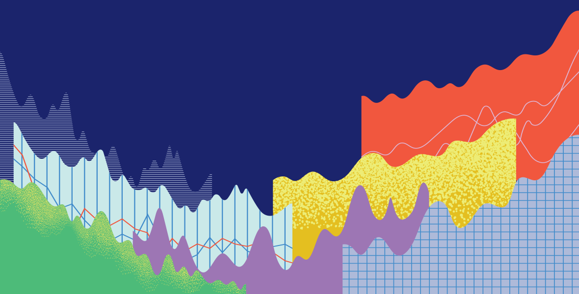 Abstract, colorful illustration representing various graphs and data points.