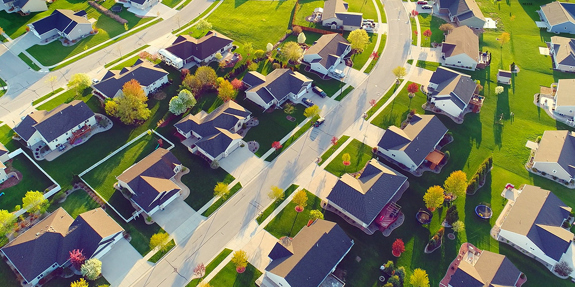 Aerial view of a residential area.
