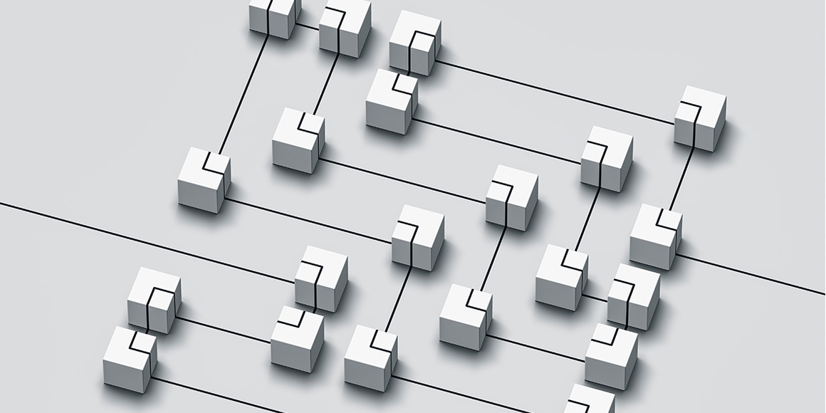 Various interconnected cubical shapes representing the innerworkings of blockchain.
