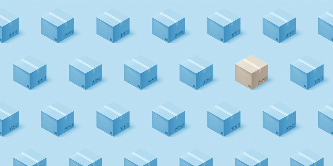 A brown box and many blue boxes lining up on blue background.