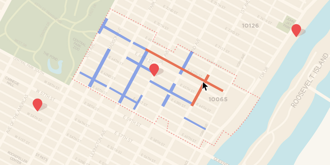 A map of New York City with blue and red routes.