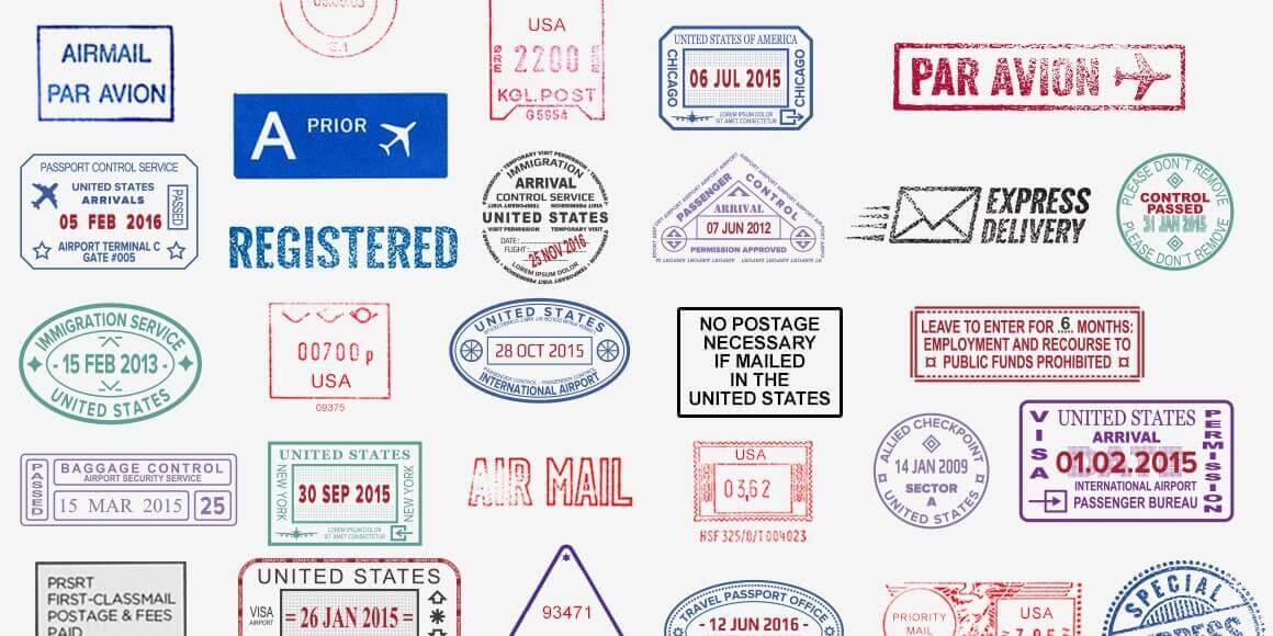 Various kinds of U.S. ink stamp prints.
