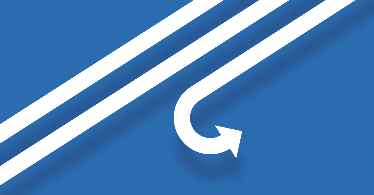 A long white arrow on blue background.