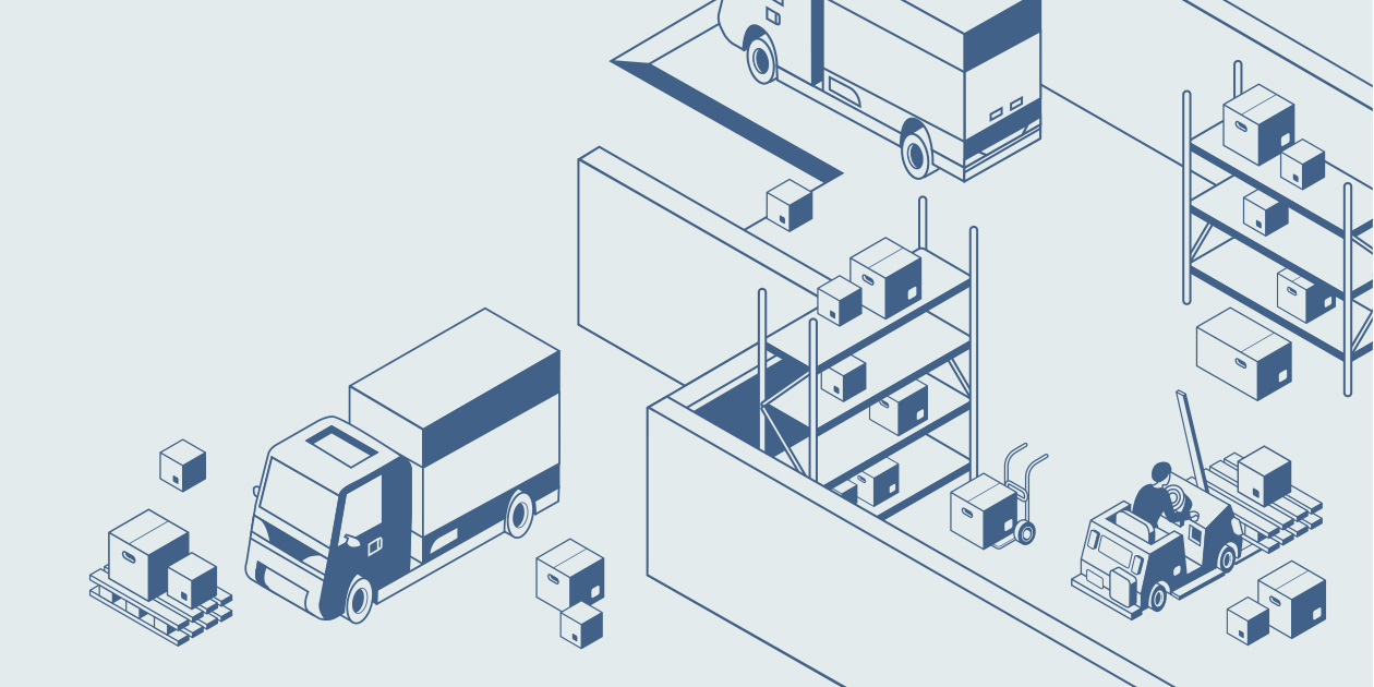 Illustration of vehicles moving boxes in and out of a warehouse.