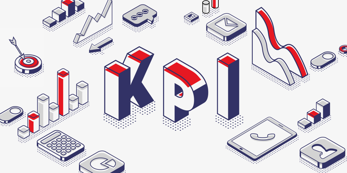 """""""KPI"""" in block letters, with illustrations representing various key performance indicators."""