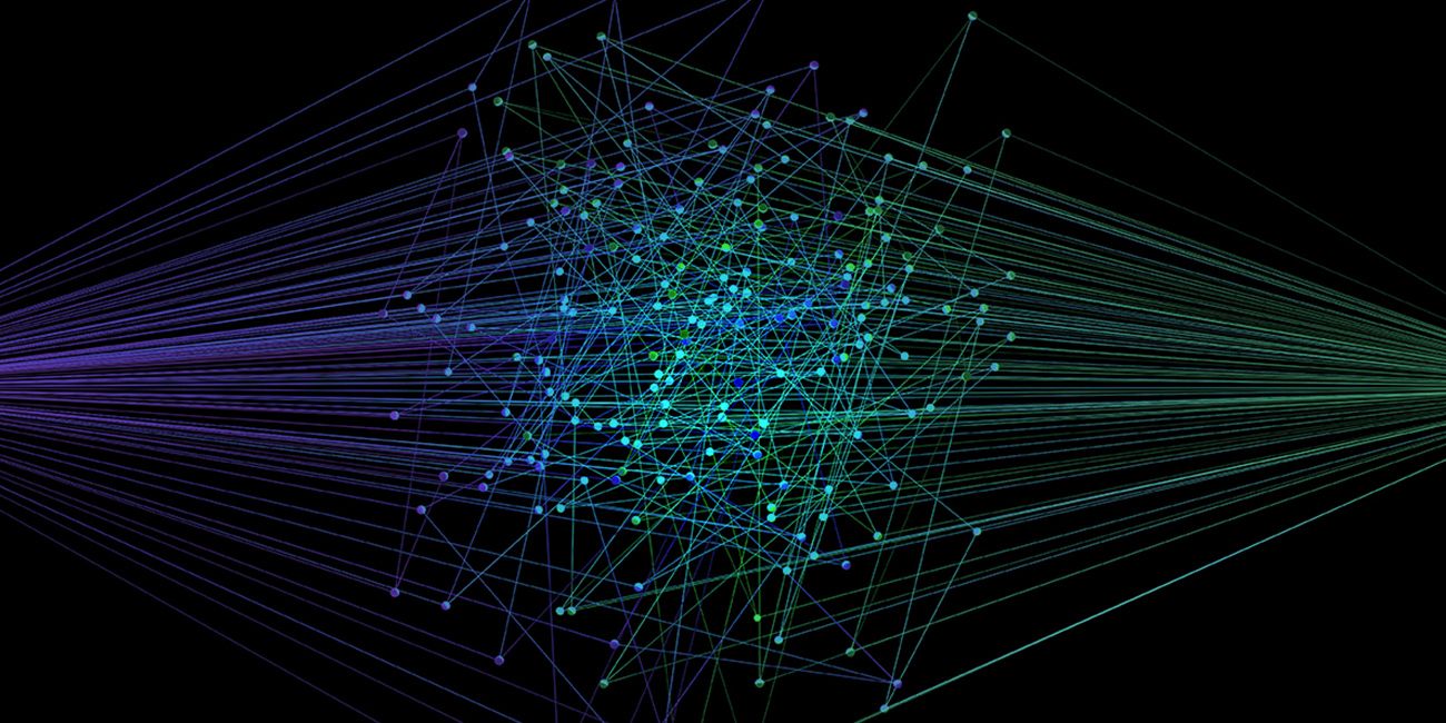 Abstract illustration of intersecting green and blue lines, representing connected campaigns.