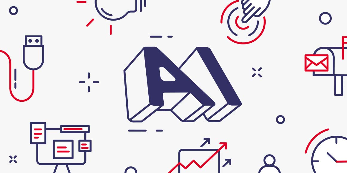 Illustration of the abbreviation AI, and various icons depicting marketing methods and technologies.