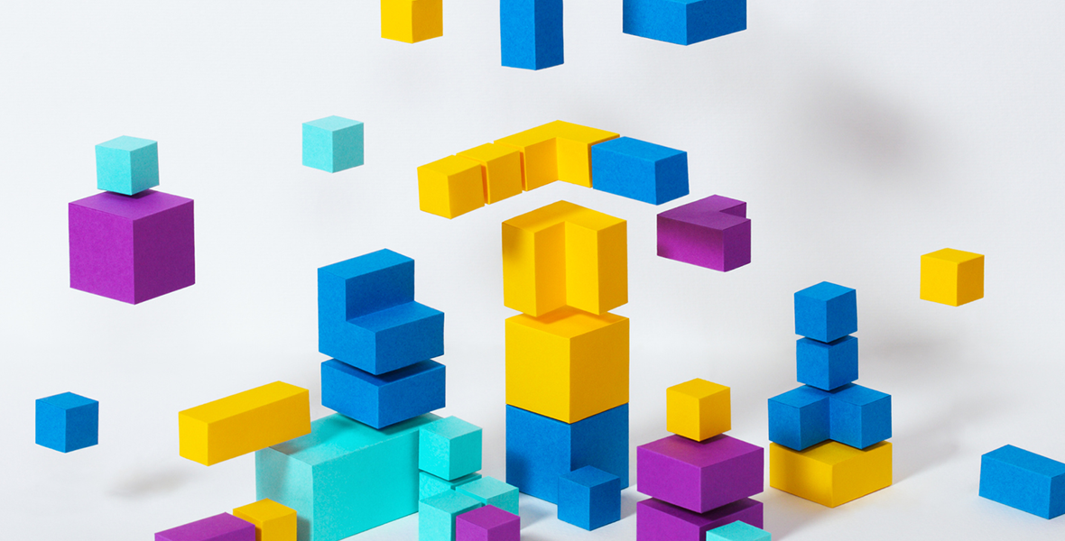 Illustration of colorful blocks representing various aspects of business.