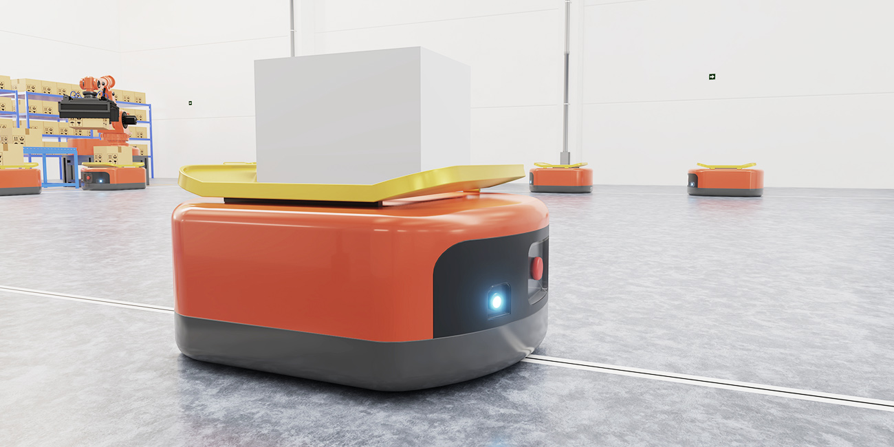 A robot on a track moving an item in a warehouse.