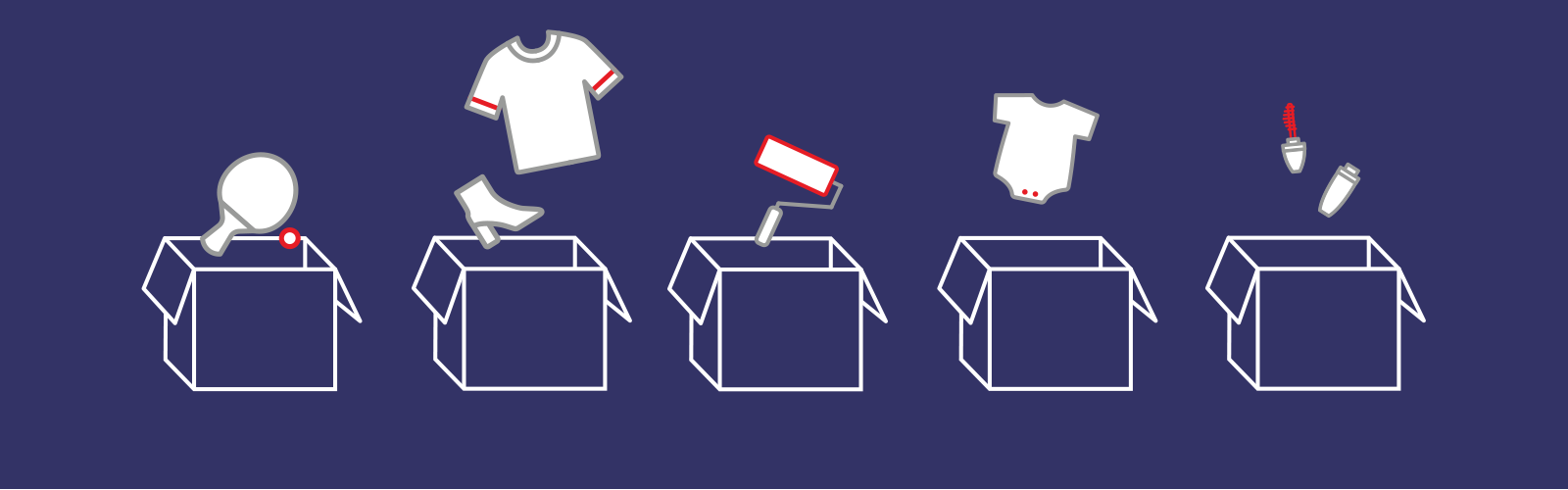 Illustration of five shipping boxes and various products including high heels and a baby onesie.