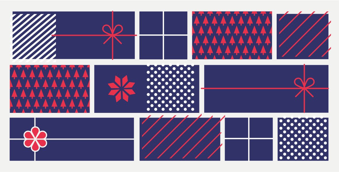 Abstract illustration of blue, red and white holiday gifts.