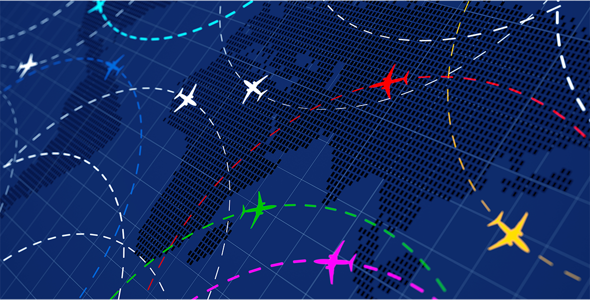 Airline routes with planes on blue background.