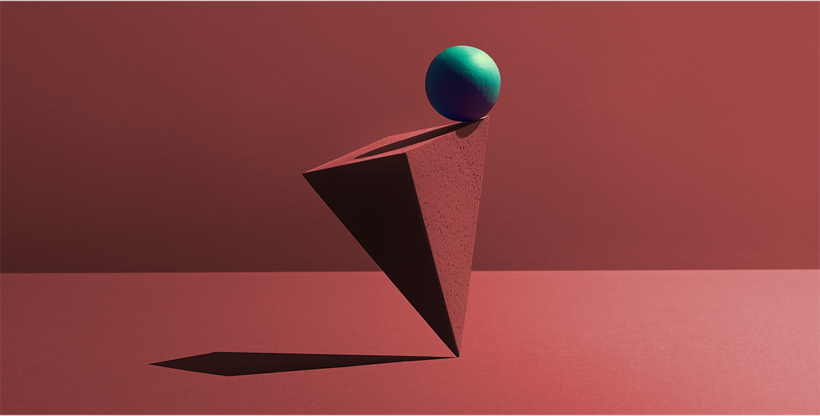 An abstract illustration of a green ball balancing on the edge of a 3D red triangle.