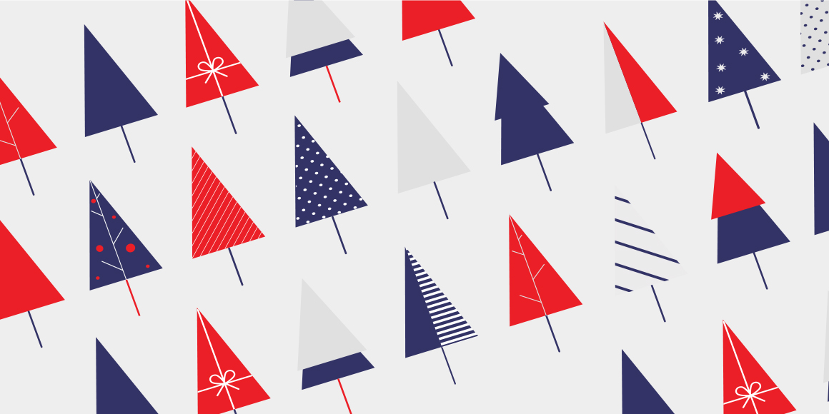 Abstract illustration of red, blue and white Christmas trees.