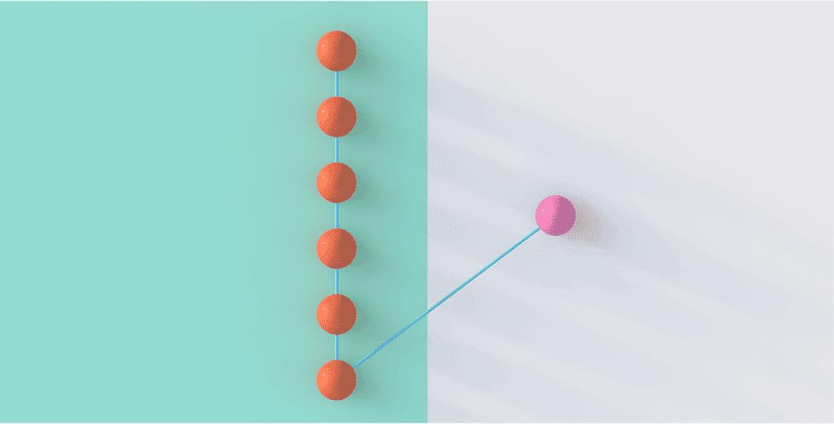 Modern illustration of seven interconnected spheres.