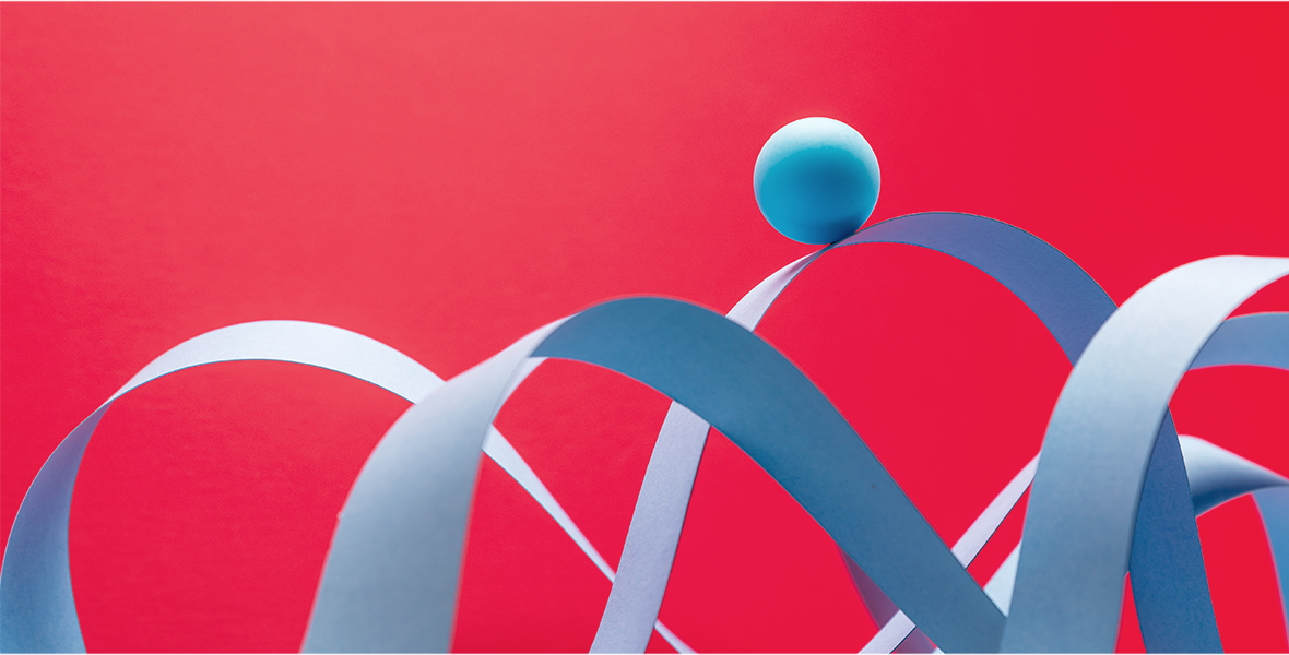 Abstract blue shapes over a red background.