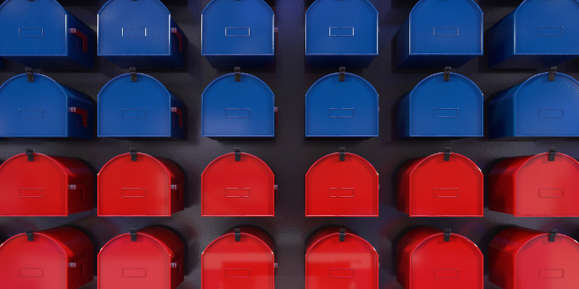 12 blue mailboxes and 12 red mailboxes.