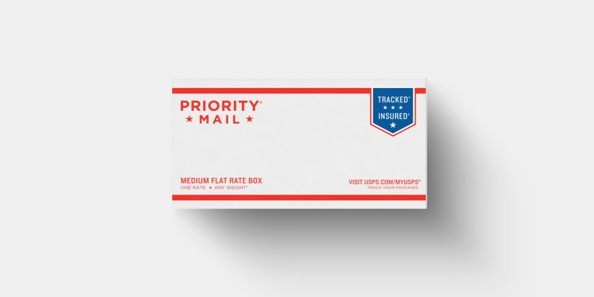 A USPS priority mail envelope.
