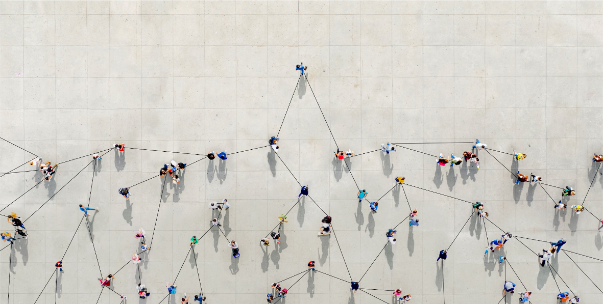 Aerial view of people walking, with lines showing connections between them