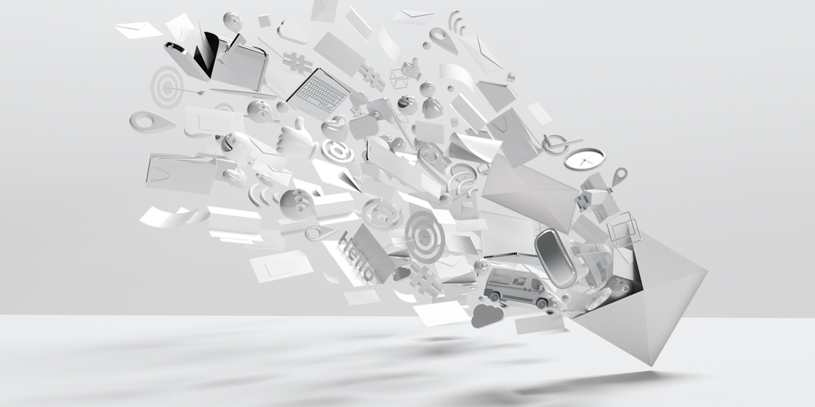 3D illustration of advanced direct mail innovations.