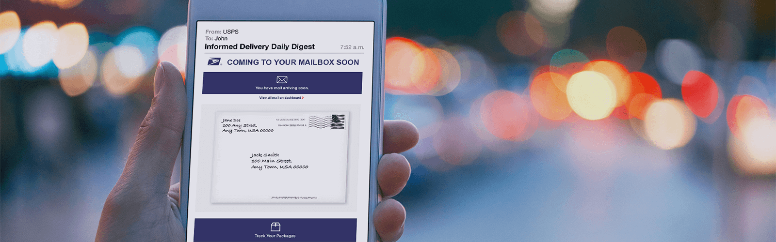 A mobile phone showing an email interface for the USPS Informed Delivery Daily Digest.