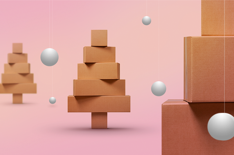 Shipping packages arranged to create Christmas tree shapes.