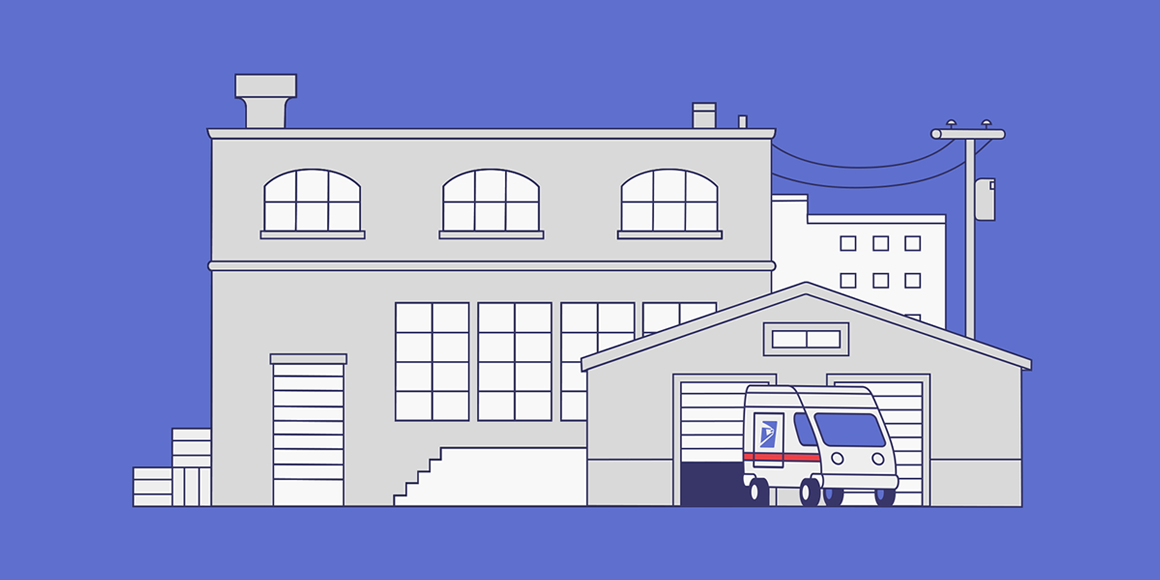 A USPS delivery truck in front of a warehouse.